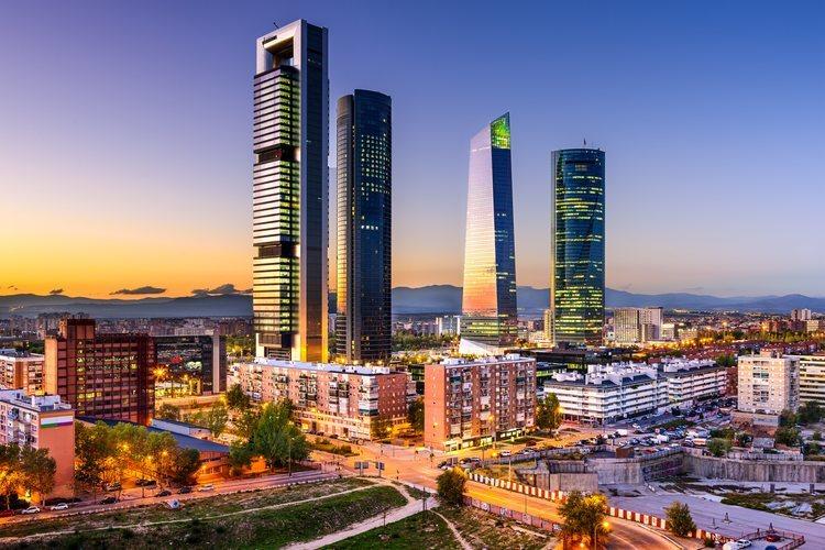 El distrito financiero de Madrid, la zona de las Cuatro Torres.