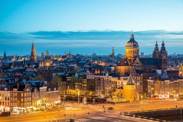 El skyline de la  ciudad de Amsterdam