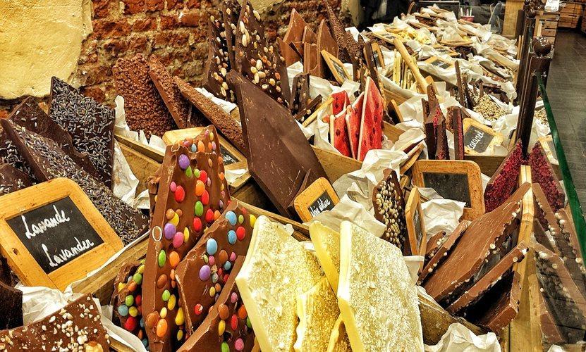 Una tienda de chocolate belga en Bruselas