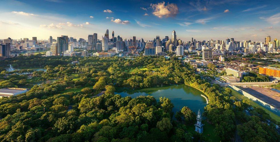 Vista del Skyline de Bangkok y Lumpini Park