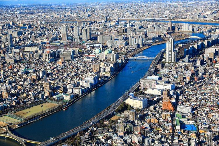 Vista del río Sumida desde la Tokyo Skytree