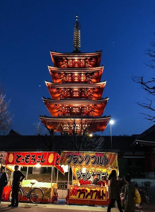 La pagoda del templo de Sensoji, con puestecitos de comida japonesa en primer plano.