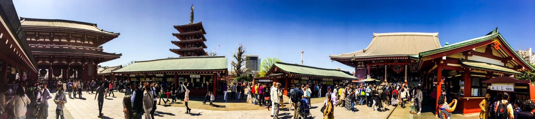 Panorámica del templo Sensoji en Asakusa, Tokio